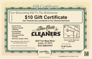 Dry Cleaners Star Brite Certificate Our Town America