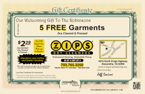 Dry Cleaners ZIPS certificate Our Town America