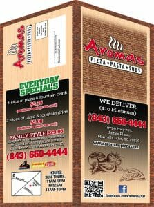 folded menu postcard
