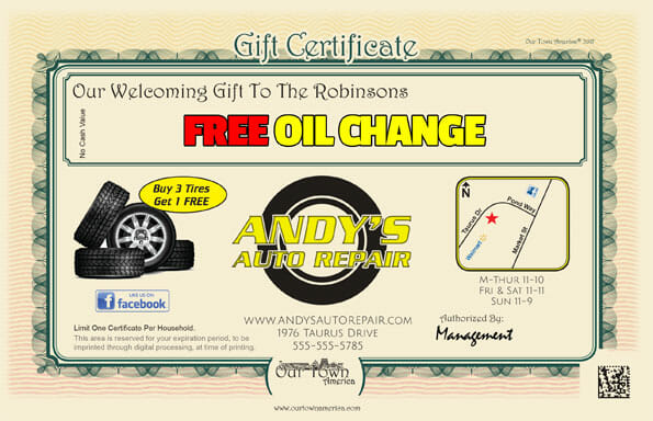 Welcome gift certificate example for the automotive industry