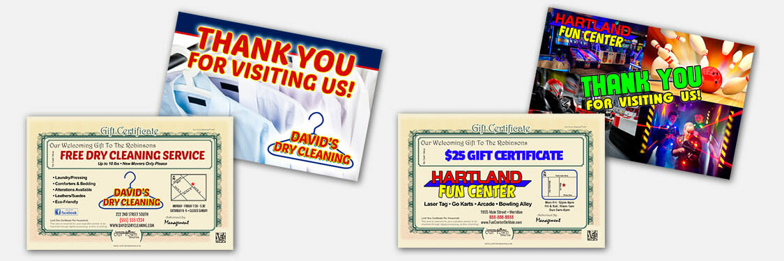 Certificate and thank you post card examples for other industries