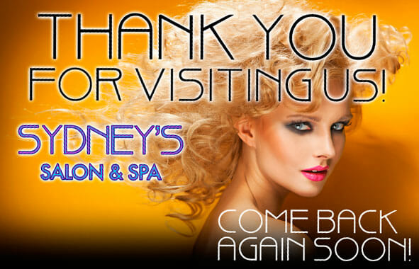 A thank you post card sent out to hose who redeem your barber shop or beauty salon welcome gift certificate