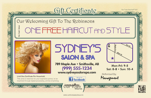 Barber shop and beauty salon welcome gift certificate. One free haircut and style!