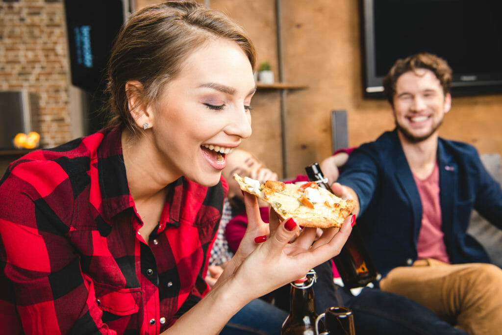 Modern Restaurant Magazine and Our Town America Eating Pizza
